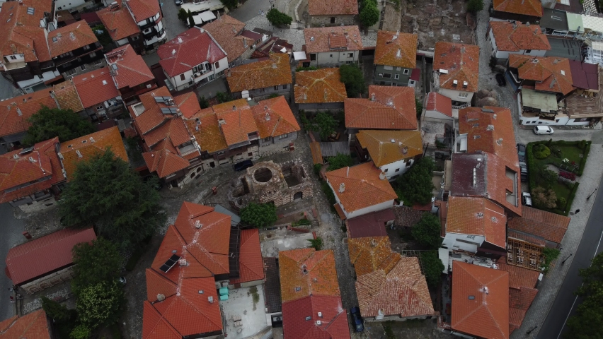 Nesebar june 2021.Panoramic view of Nessebar by drone. The ancient city is one of the largest sea resorts on the Bulgarian Black Sea coast. UNESCO included Nessebar in the World Heritage List in 1983.