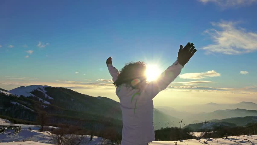 4k Reaching The Top of mountain. Victory, success concept, UHD steadycam stock video #10792838