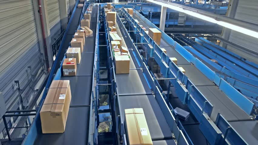 Parcels on conveyors - time lapse #10792934