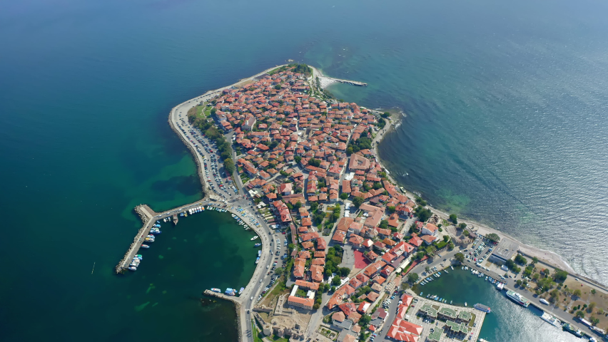 Aerial drone view to the old town of Nessebar, Bulgarian Black Sea coast. 4k
