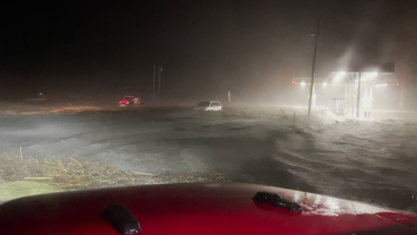 New Orleans, LA US - August 29, 2021 Hurricane Ida making landfall in southern Louisiana producing severe storm surge and flooding from category 4 hurricane winds.