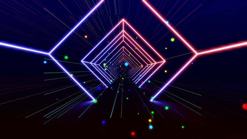 Flight through 3D tunnel with simple geometric objects, multicolored neon light. VJ loop with neon glow, array of simple 3d objects, abstract wireframes and construction. 3d modern motion design bg | Shutterstock HD Video #1080132629