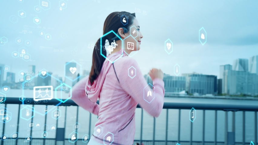 Running woman and health care technology concept.   Shutterstock HD Video #1080849962