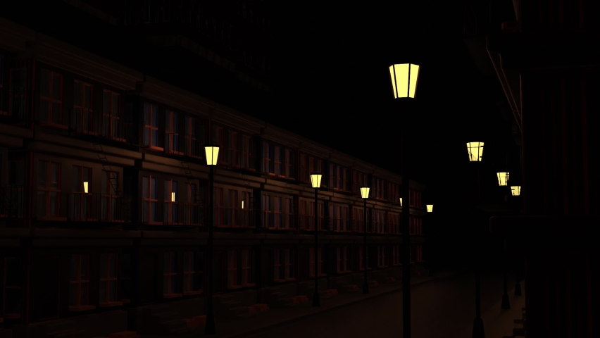 Abstract city landscape with an empty street decorated by two rows of lanterns. Design. Old fashioned building and a moving train with lights in windows moving above the house at night.   Shutterstock HD Video #1080883562