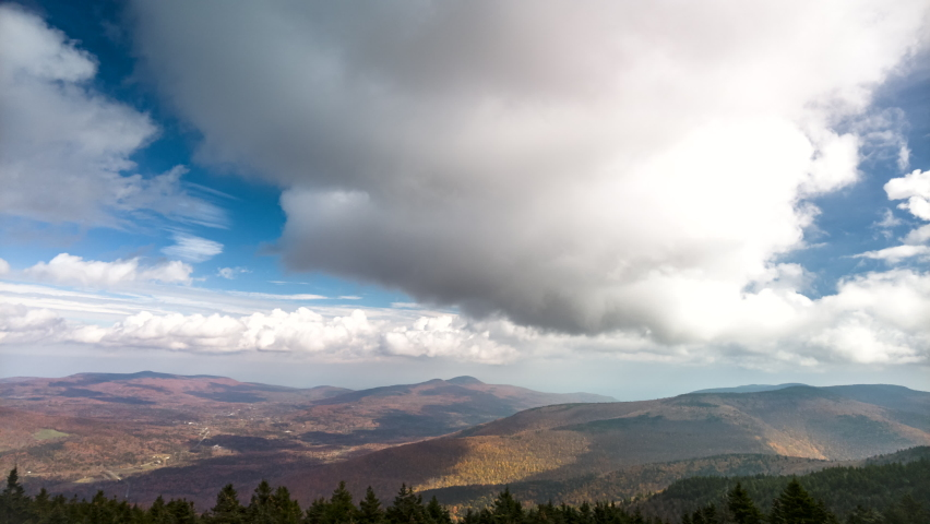 Tannersville valley timelapse viewed from the top of Hunter peak, in the Catskill mountains, Upstate New York   Shutterstock HD Video #1080898583