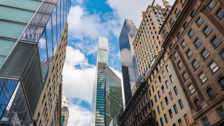Looking up from Street View, New York City Skyline Timelapse, 432 Park Avenue    Shutterstock HD Video #1080898895