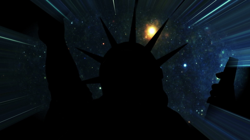 Statue of liberty against Stars in the night with light rays   Shutterstock HD Video #1080949214
