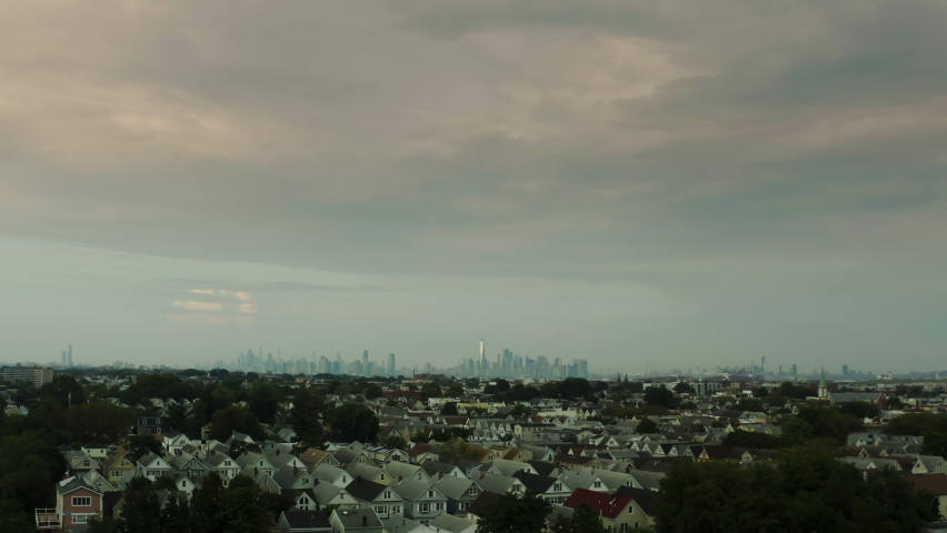 Aerial view of New York shot from the the Meadowlands   Shutterstock HD Video #1080950012