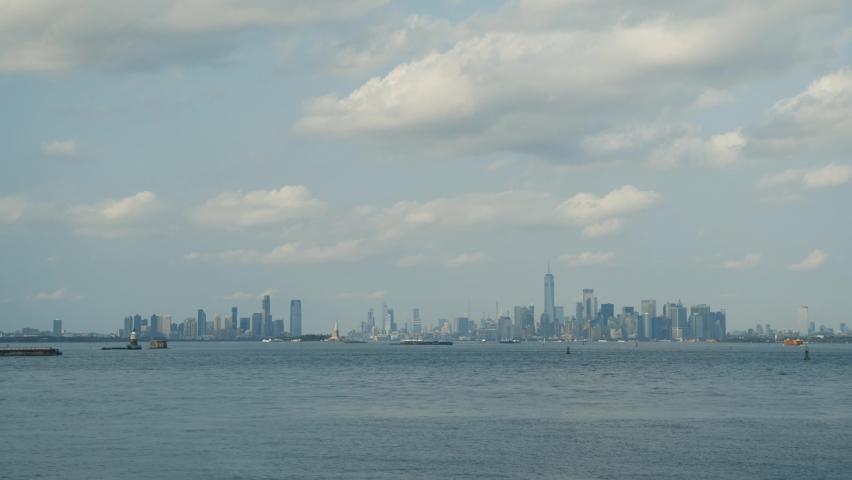 New York City panorama with Manhattan Skyline over Hudson River.   Shutterstock HD Video #1080950252