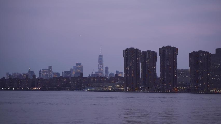 New York City skyline at Night Lights, Midtown Manhattan   Shutterstock HD Video #1080950300