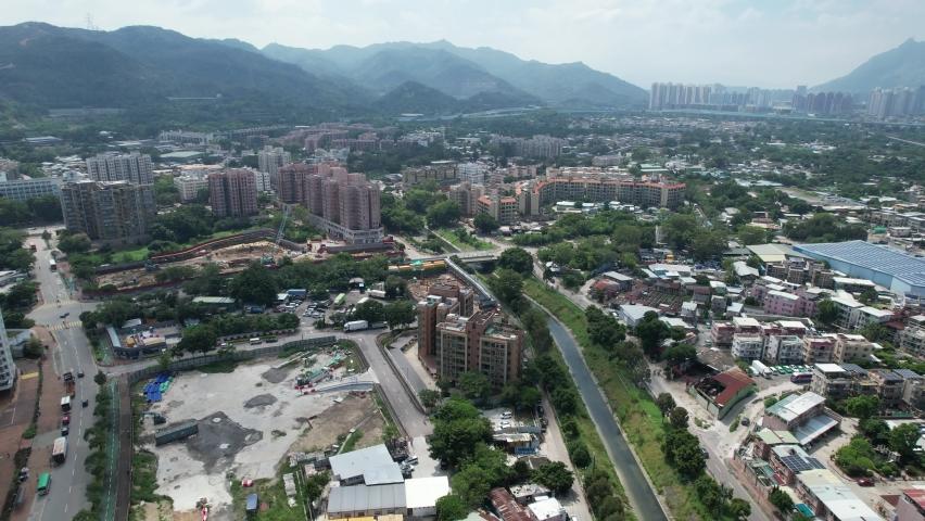 Countryside in Hung Shui Kiu, Yuen Long, Tin Shui Wai, Tuen Mun, New Territories Top view of Hong Kong city land | Shutterstock HD Video #1080999965