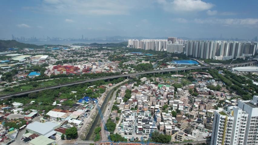Countryside in Hung Shui Kiu, Yuen Long, Tin Shui Wai, Tuen Mun, New Territories Top view of Hong Kong city land | Shutterstock HD Video #1080999968