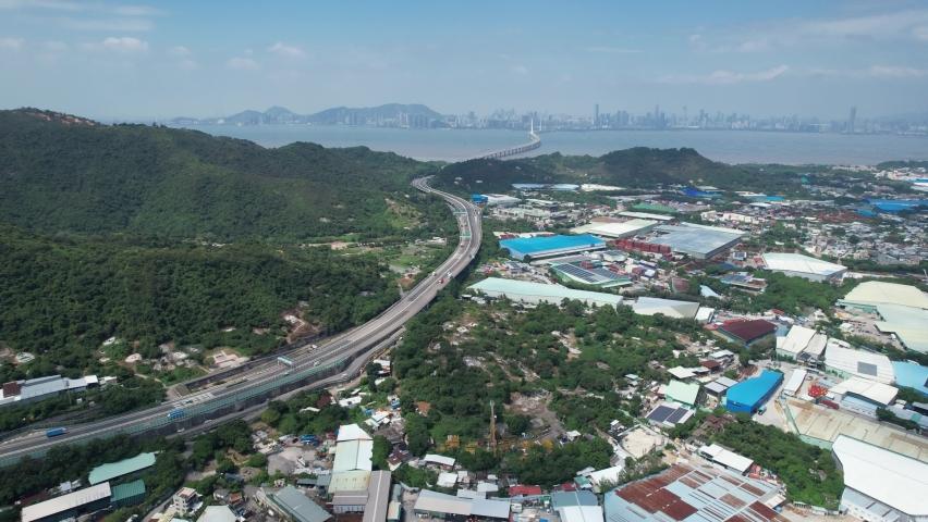 Countryside in Hung Shui Kiu, Yuen Long, Tin Shui Wai, Tuen Mun, New Territories Top view of Hong Kong city land | Shutterstock HD Video #1081000004