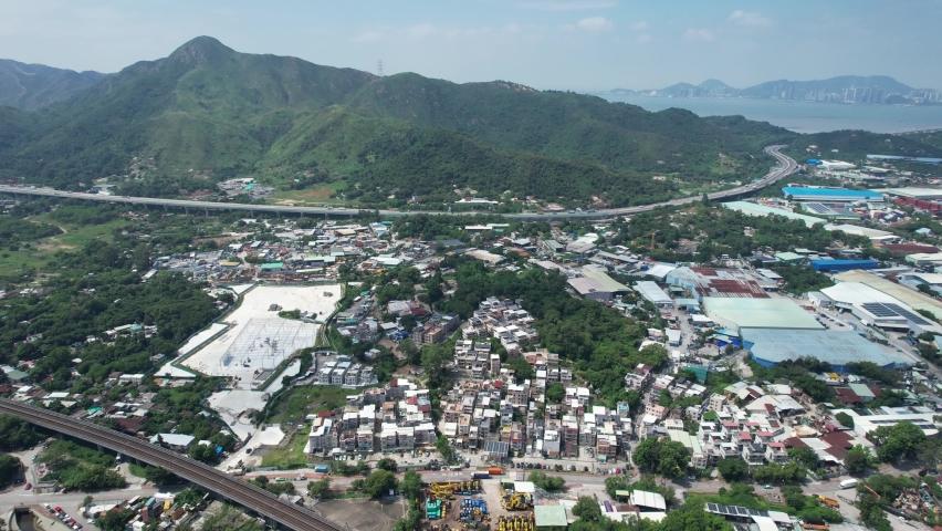 Countryside in Hung Shui Kiu, Yuen Long, Tin Shui Wai, Tuen Mun, New Territories Top view of Hong Kong city land | Shutterstock HD Video #1081000007