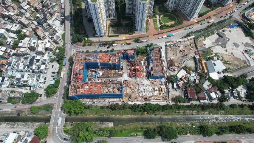Countryside in Hung Shui Kiu, Yuen Long, Tin Shui Wai, Tuen Mun, New Territories Top view of Hong Kong city land | Shutterstock HD Video #1081000013