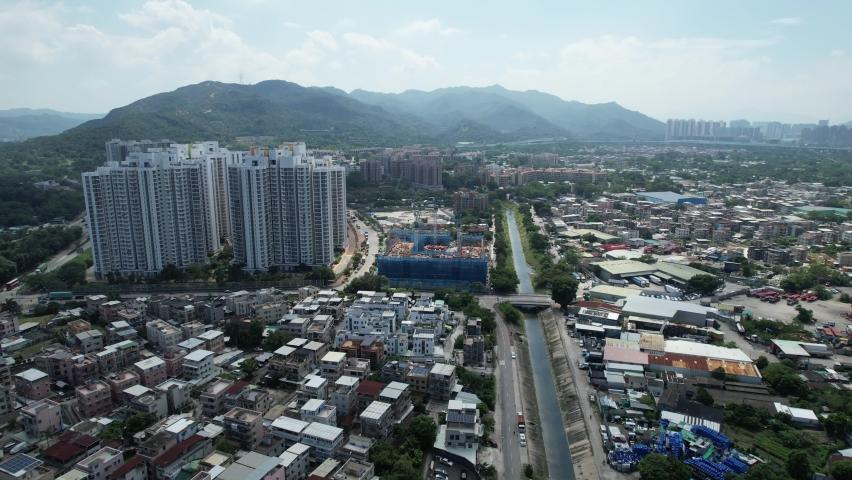 Countryside in Hung Shui Kiu, Yuen Long, Tin Shui Wai, Tuen Mun, New Territories Top view of Hong Kong city land | Shutterstock HD Video #1081000028