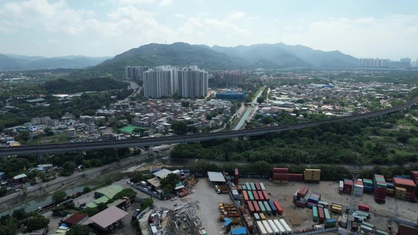 Countryside in Hung Shui Kiu, Yuen Long, Tin Shui Wai, Tuen Mun, New Territories Top view of Hong Kong city land | Shutterstock HD Video #1081000031