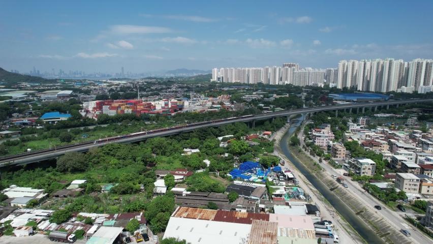Countryside in Hung Shui Kiu, Yuen Long, Tin Shui Wai, Tuen Mun, New Territories Top view of Hong Kong city land | Shutterstock HD Video #1081000037