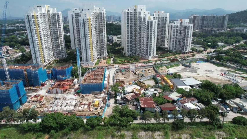 Countryside in Hung Shui Kiu, Yuen Long, Tin Shui Wai, Tuen Mun, New Territories Top view of Hong Kong city land | Shutterstock HD Video #1081000040
