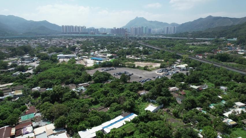 Countryside in Hung Shui Kiu, Yuen Long, Tin Shui Wai, Tuen Mun, New Territories Top view of Hong Kong city land | Shutterstock HD Video #1081000043