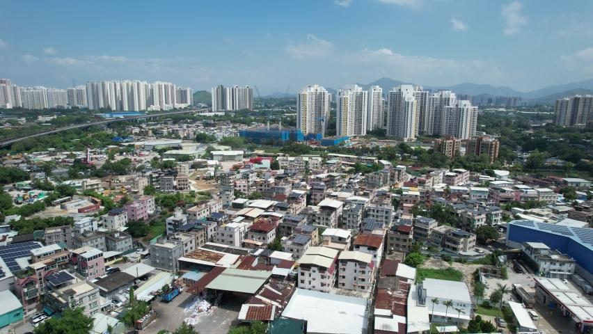 Countryside in Hung Shui Kiu, Yuen Long, Tin Shui Wai, Tuen Mun, New Territories Top view of Hong Kong city land | Shutterstock HD Video #1081000046