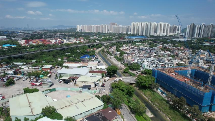 Countryside in Hung Shui Kiu, Yuen Long, Tin Shui Wai, Tuen Mun, New Territories Top view of Hong Kong city land | Shutterstock HD Video #1081000052