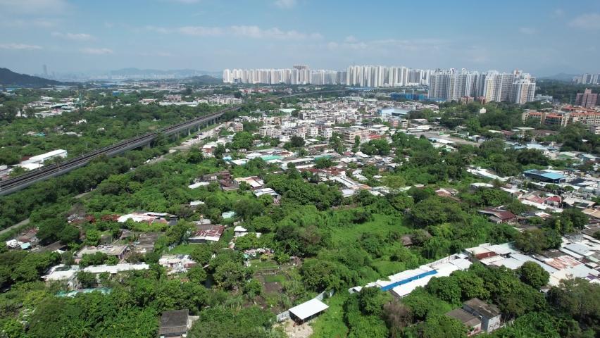 Countryside in Hung Shui Kiu, Yuen Long, Tin Shui Wai, Tuen Mun, New Territories Top view of Hong Kong city land | Shutterstock HD Video #1081000064