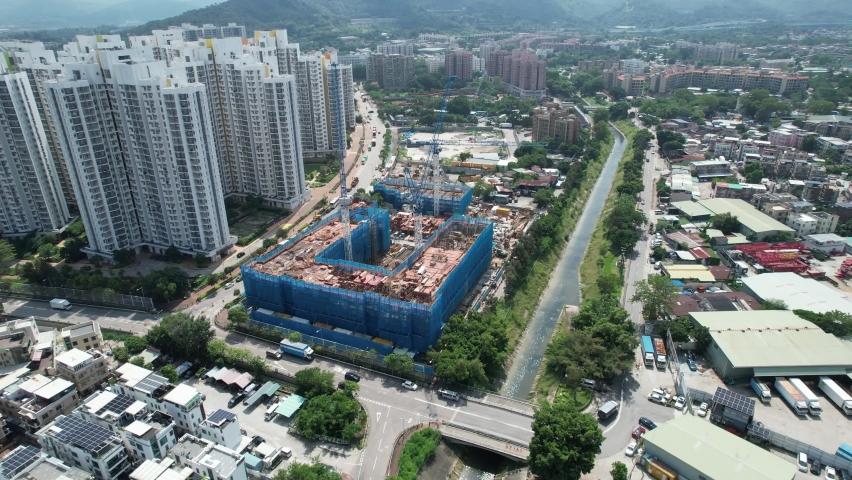 Countryside in Hung Shui Kiu, Yuen Long, Tin Shui Wai, Tuen Mun, New Territories Top view of Hong Kong city land | Shutterstock HD Video #1081000091
