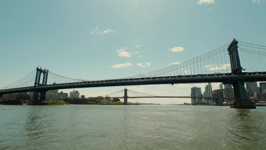 Wide view of washington bridge in New York at sunset. Move camera..   Shutterstock HD Video #1081004477