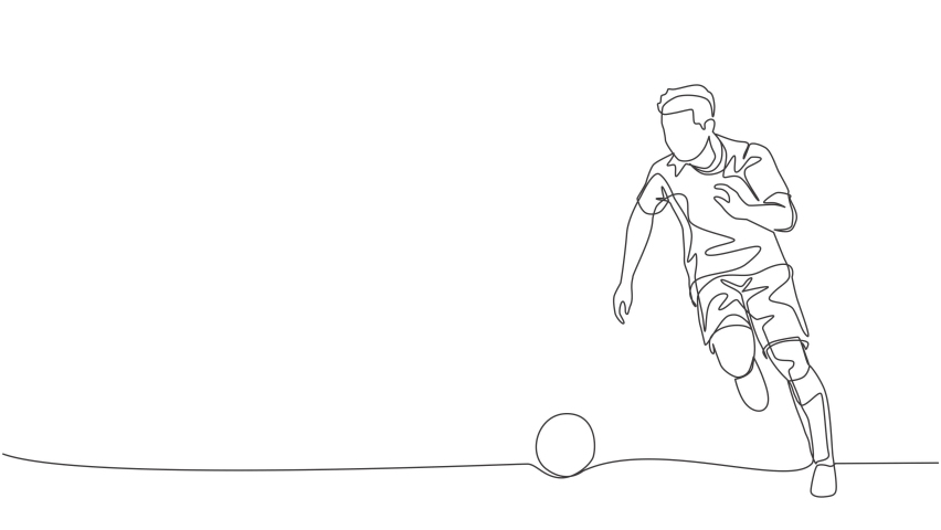 Animated self drawing of one continuous line draw young energetic football player dribbling the ball to the opponent area. Soccer match sports concept. Full length single line animation illustration. | Shutterstock HD Video #1081065704