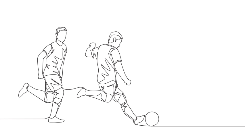 Animated self drawing of one continuous line draw young energetic football player kicking the ball to pass to his teammates. Soccer match sports concept. Full length single line animation illustration | Shutterstock HD Video #1081065707