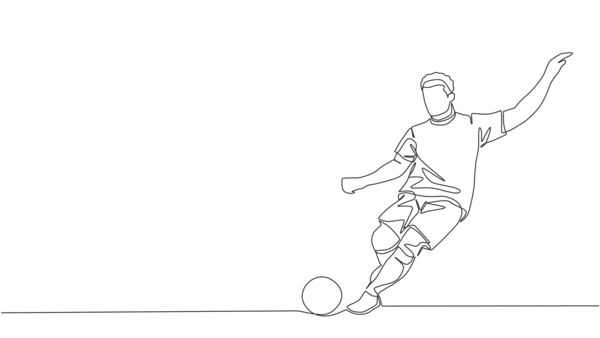 Animated self drawing of one continuous line draw young talented football player take a free kick. Soccer match sports concept. Full length single line animation illustration. | Shutterstock HD Video #1081065710