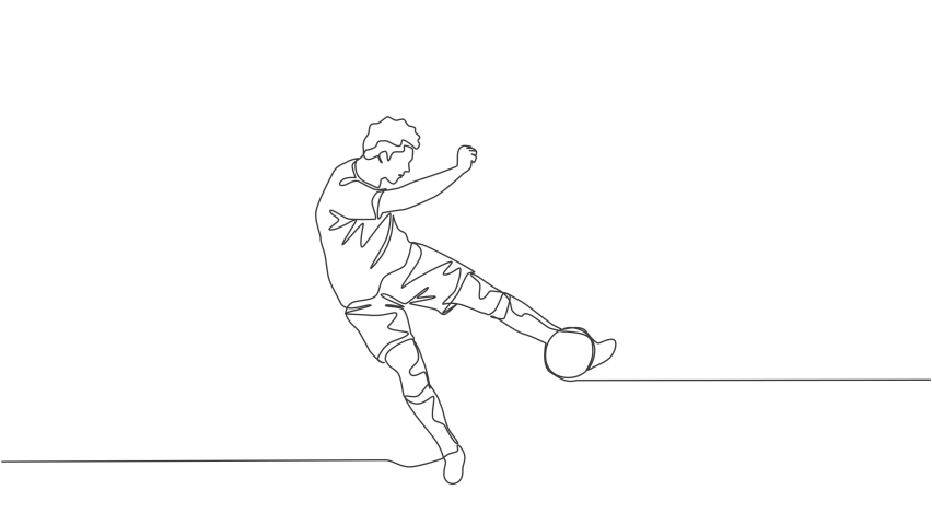 Animated self drawing of one continuous line draw young talented football player shooting the ball with first time kick technique. Soccer match sports concept. Full length single line animation. | Shutterstock HD Video #1081065713
