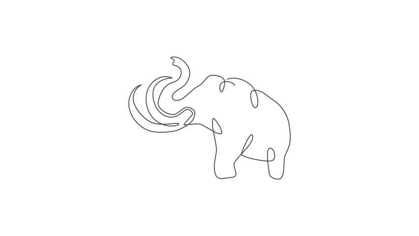 Animated self drawing of single continuous line draw big mammoth corporate logo identity. Ancient animal from ice age icon concept. Full length one line animation illustration. | Shutterstock HD Video #1081065740