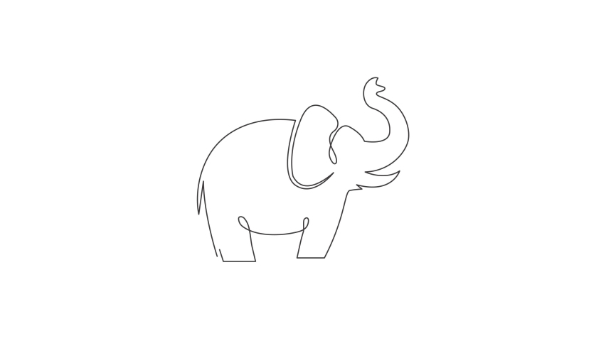 Animated self drawing of one continuous line draw big cute elephant company logo identity. African zoo animal icon concept. Full length single line animation illustration. | Shutterstock HD Video #1081065785