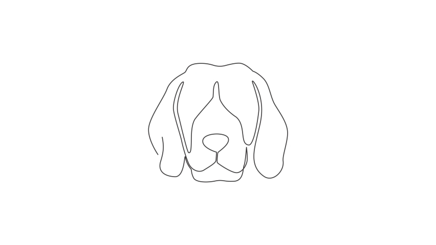 Animated self drawing of one continuous line draw simple cute beagle puppy dog head icon. Mammals animal logo emblem vector concept. Full length single line animation illustration. | Shutterstock HD Video #1081065836