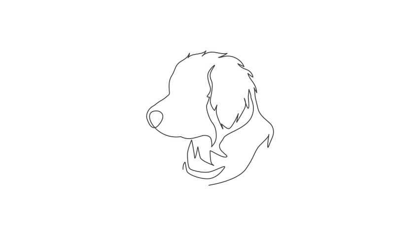Animation of one single line drawing of simple cute puppy dog icon. Pet shop logo emblem vector concept. Continuous line self draw animated illustration. Full length motion. | Shutterstock HD Video #1081065851