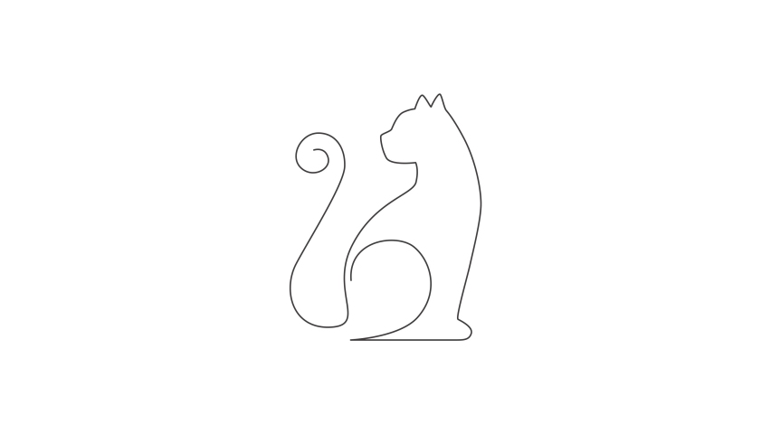 Animated self drawing of one continuous line draw simple cute cat kitten icon. Mammals animal logo emblem vector concept. Full length single line animation illustration. | Shutterstock HD Video #1081065863