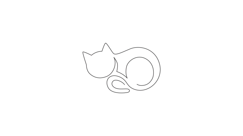 Animation of one single line drawing of simple cute cat kitten icon. Pet shop logo emblem vector concept. Continuous line self draw animated illustration. Full length motion. | Shutterstock HD Video #1081065872