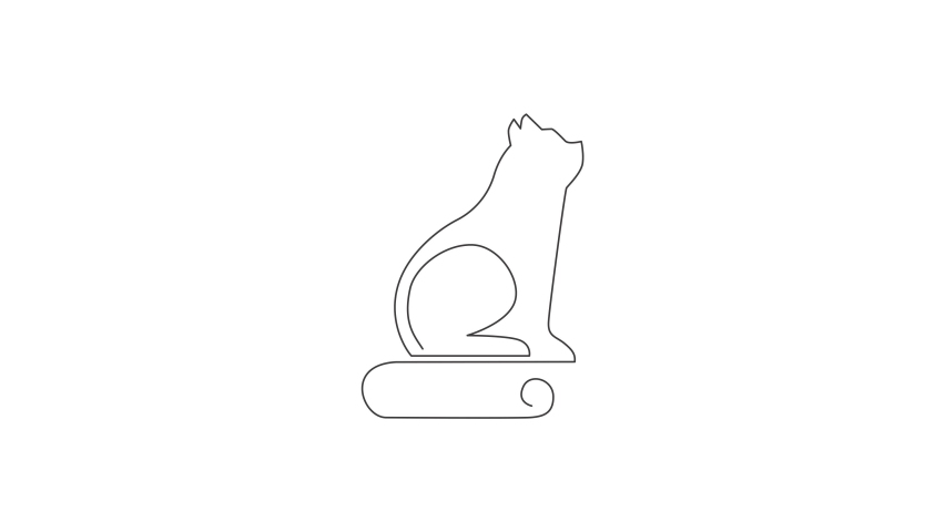 Animation of one single line drawing of simple cute cat kitten icon. Pet shop logo emblem vector concept. Continuous line self draw animated illustration. Full length motion. | Shutterstock HD Video #1081065875
