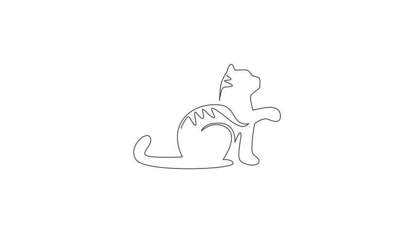 Animation of one single line drawing of simple cute cat kitten icon. Pet shop logo emblem vector concept. Continuous line self draw animated illustration. Full length motion. | Shutterstock HD Video #1081065878