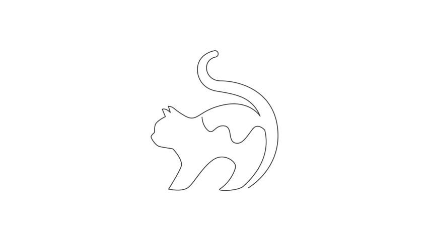 Animated self drawing of one continuous line draw simple cute cat kitten icon. Kitty mammals animal logo emblem vector concept. Full length single line animation illustration. | Shutterstock HD Video #1081065881