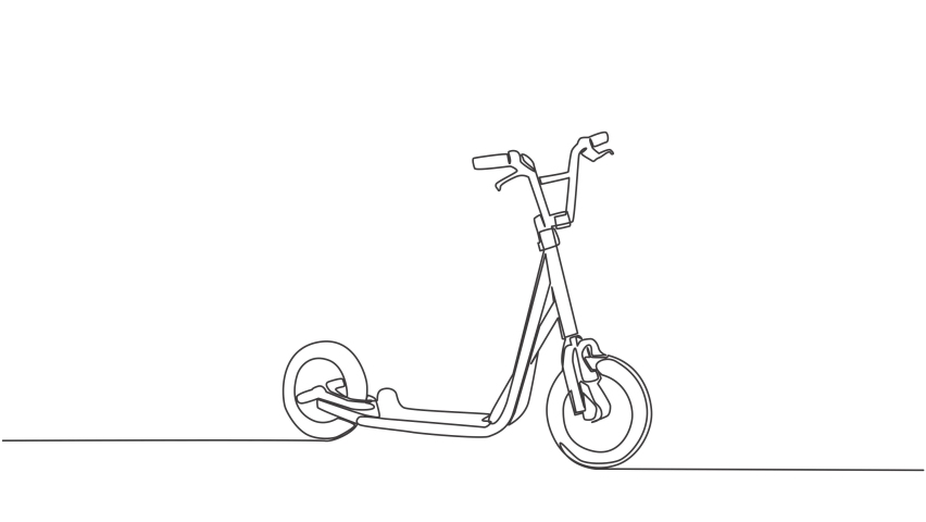 Animation of one single line drawing of kick scooter logo. Modern urban vehicle concept. Continuous line self draw animated illustration. Full length motion. | Shutterstock HD Video #1081065890