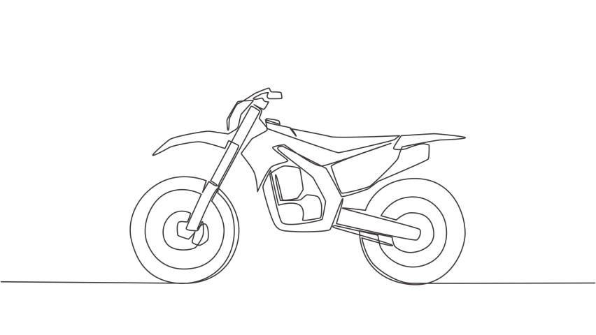 Animation of one single line drawing of tough trail motocross logo. Off road motorcycle concept. Continuous line self draw animated illustration. Full length motion. | Shutterstock HD Video #1081065908