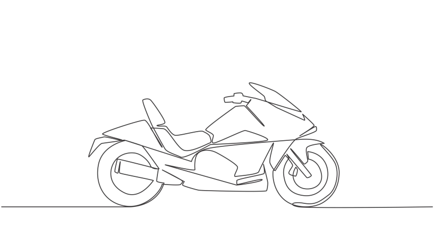 Animation of one single line drawing of luxury big motorbike logo. Sport motorcycle concept. Continuous line self draw animated illustration. Full length motion. | Shutterstock HD Video #1081065917
