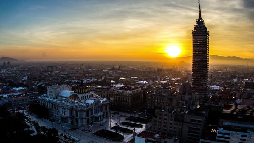 Sunrise in Bellas Artes and Torre Latinoamericana