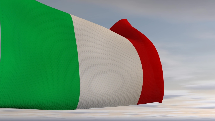 The flag of the Italian Republic waving in the wind against a blue sky with clouds and the sun, normal movement, realistic 3D animation.  | Shutterstock HD Video #1081264397