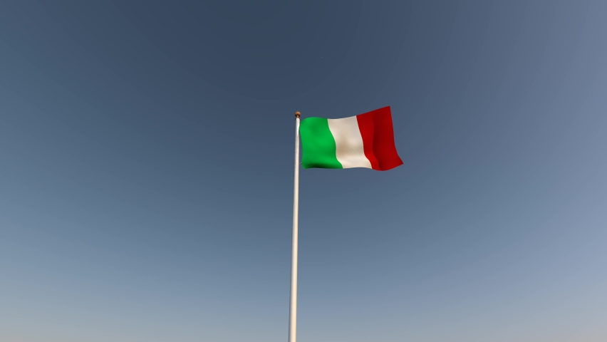 The flag of the Italian Republic waving in the wind against a blue sky with clouds and the sun, normal movement, realistic 3D animation.  | Shutterstock HD Video #1081264400