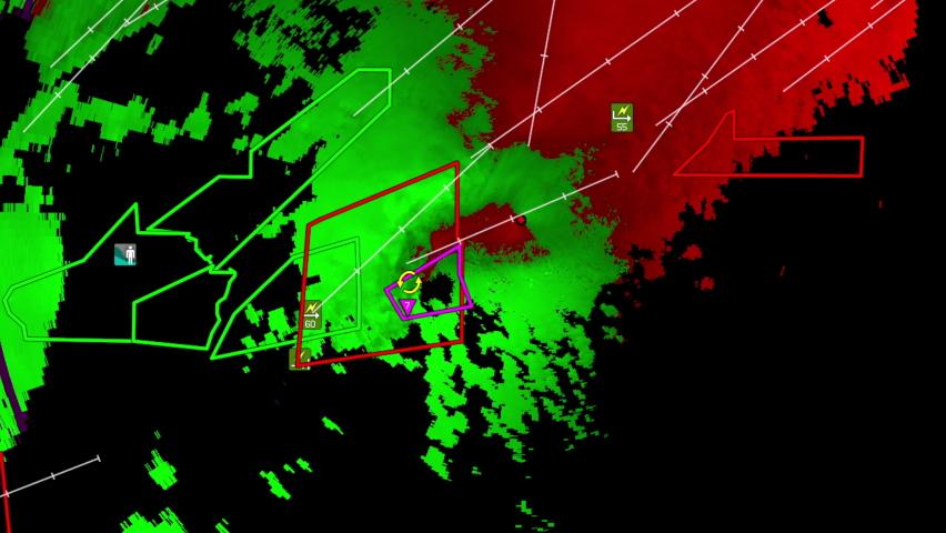 Severe thunderstorms with tornado warning on Doppler weather radar screen | Shutterstock HD Video #1081268033