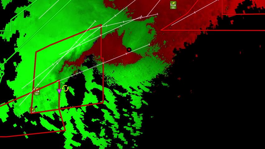 Severe thunderstorms with tornado warning on Doppler weather radar screen | Shutterstock HD Video #1081268042